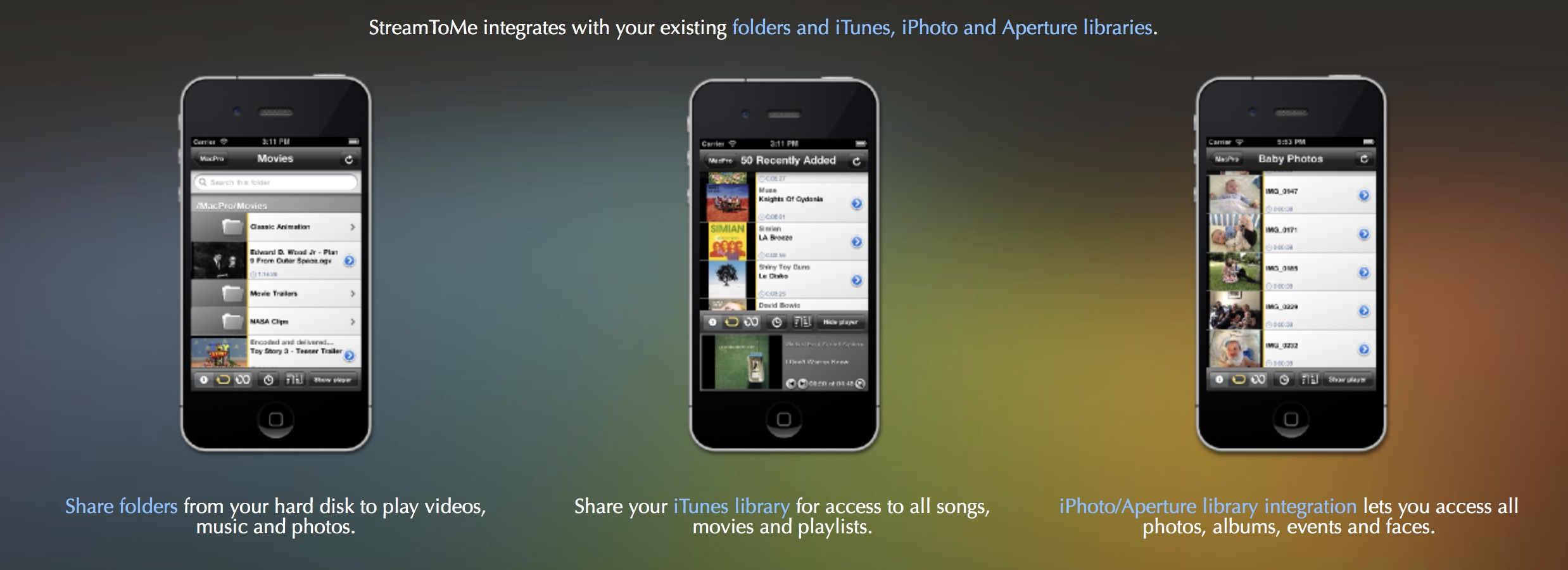 Some StreamToMe promotional screenshots from the iOS 6 era. 'member Aperture?