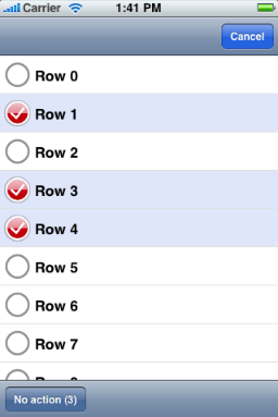 Multiple row selection and editing in a UITableView